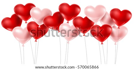 Red and pink balloons isolated on white. Vector illustration