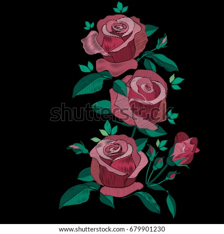 Red and pink embroidery roses bush with leaves and bud. Flowers bouquet traditional folk embroidery vector illustration isolated on dark background. Floral pattern with stitch effect texture imitation