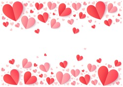 Red and pink folded paper hearts isolated on white, Valentines Day vector background