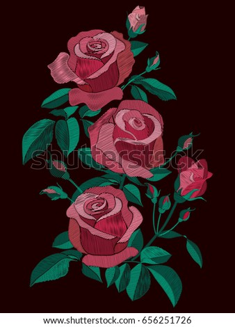 Red and pink roses bush with leaves and buds. Flowers bouquet traditional folk embroidery vector illustration isolated on dark background. Floral pattern with stitch effect texture imitation.