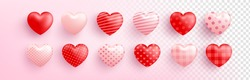 Red and pink Sweet heart with different patterns on transparent background. Cute heart for Love and Valentine's day template.Vector illustration eps 10