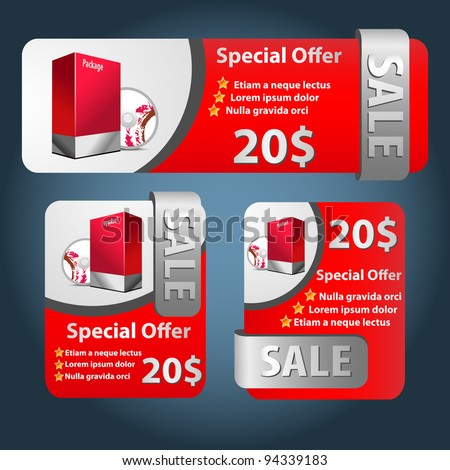 Red and silver Software Banner Set 2. Sale with box, cd