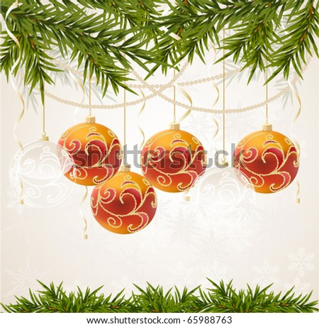 red and transparent Christmas ball on new year tree, vector illustration