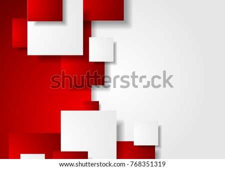 Red and white abstract tech squares concept vector background