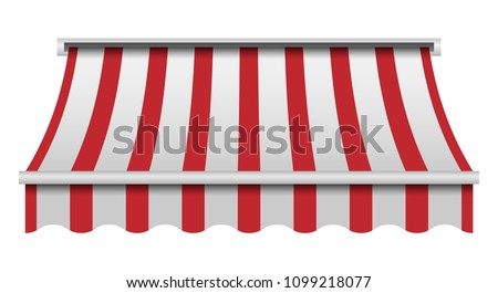 Red and white awning mockup. Realistic illustration of red and white awning vector mockup for web design isolated on white background