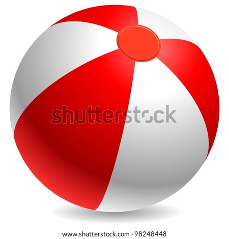 Red and white beach ball isolated on white background.