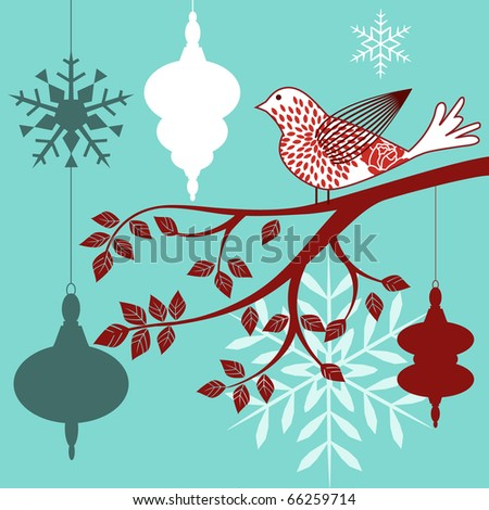 red and white bird branch baubles snowflakes - christmas theme copyspace on white bauble
