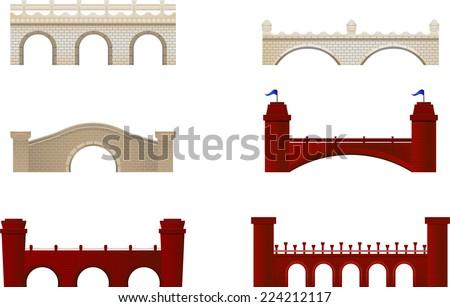 Red and White Brick Bridge Arch Architecture Building Monument vector illustration.