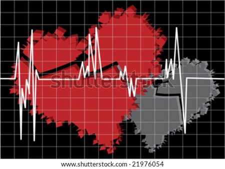 red and white broken heart and cardiogram