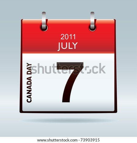 Red and white calendar icon for canada day national holiday