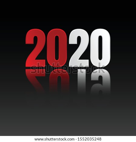Red and white 2020 change 2019 symbol text. Background or poster design on the black background. Vector illustration EPS.8 EPS.10