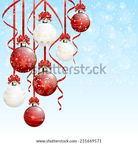 Red and white Christmas balls with tinsel on snowy background, illustration. #231669571