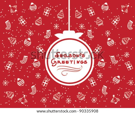 Red and White Christmas Card Design with Gifts, Stockings, Snowflakes and Balls Background