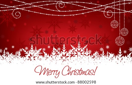 red and white christmas snowflake decoration with seasonal message