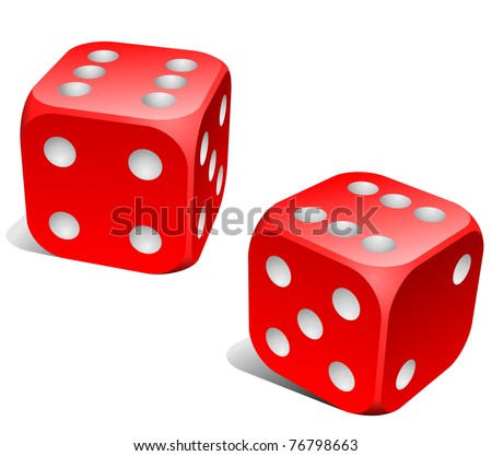 Red and white dice with double six roll.
