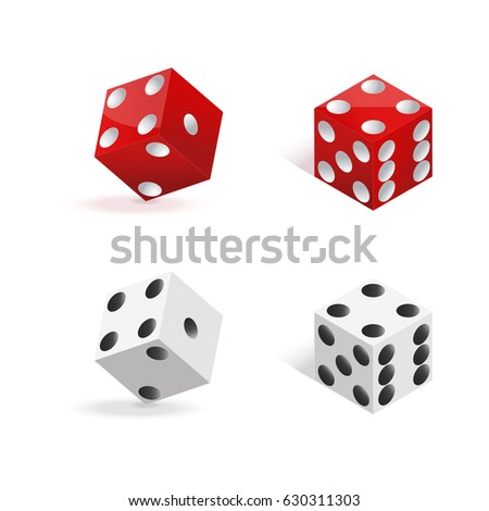 red and white dices isolated on