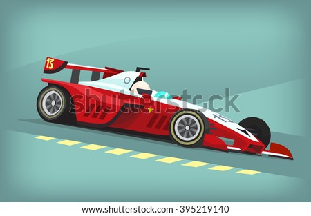 red and white fast motor racing