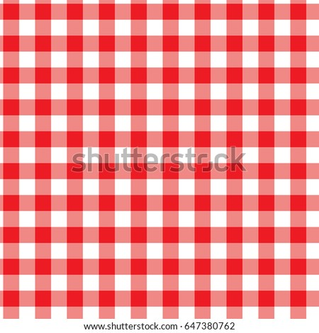 Red and White Gingham Checkered Seamless Pattern. Vector.