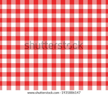 Red and white gingham seamless pattern. Checkered texture for picnic blanket, tablecloth, plaid, clothes. Italian style overlay, fabric geometric background, retro textile design. Vector illustration. Stockfoto ©
