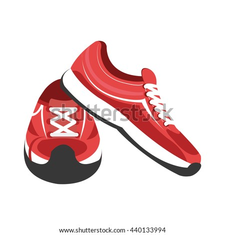 red and white gym sneakers on side and front view over isolated background,vector illustration