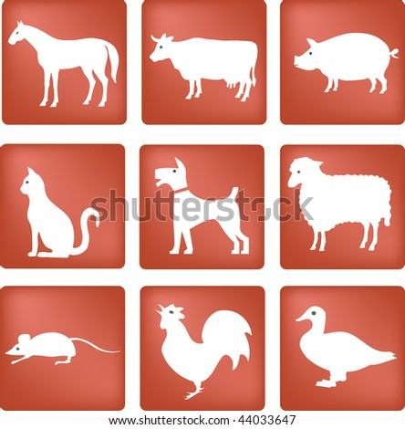 red and white icon set with
