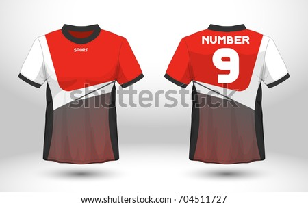 Red And White Layout Football Sport T Shirt Design Template Front Back View