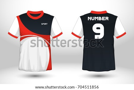 Red and white layout football sport t-shirt design. Template front, back view. Soccer kit national team shirt mock up. Vector Illustration.