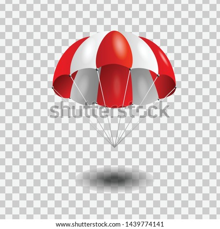 Red and White parachute on transparent background. Stock fotó ©