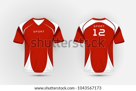 Red and white pattern sport football kits, jersey, t-shirt design template