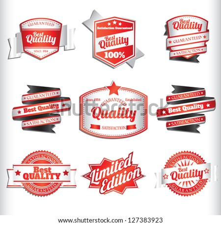 red and white premium quality labels