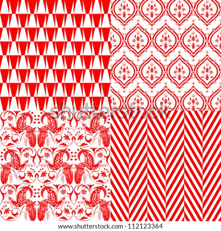 Red and white repeating patterns