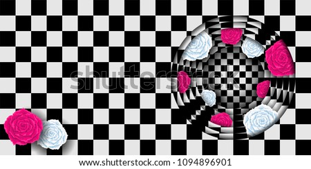 Red and white roses on chess background. Wonderland rabbit hole