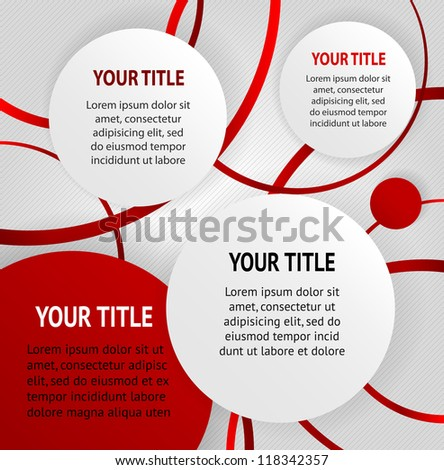 Red and white round abstract banners on striped gray background, vector
