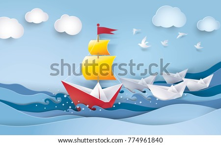 Red and white sailing boat in the ocean, leadership and business concept, Creative idea, Paper art vector and illustration