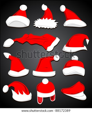 Red and White Santa Claus Hat symbol set on gray background