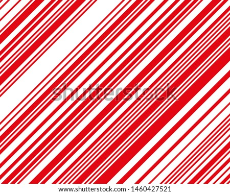 Red  and white sloping strips of different thicknesses. Vector illustration