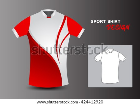 c81a43b6f2e Vector Images, Illustrations and Cliparts: Red and white sport shirt  design, uniform ,clothes, fashion, vector illustration   Hqvectors.com