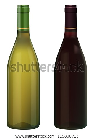 Red and White Wine bottles isolated in white without  label, vector