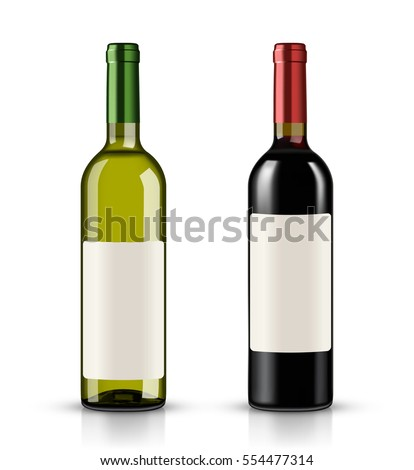 red and white wine bottles on