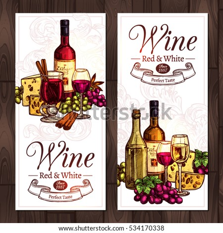 Red And White Wine Sketch Set. Design Of Vertical Banners With Wine, Bottles, Wineglasses, Cheese And Grapes In Hand Drawn Color Style