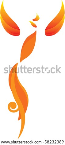 Red and yellow isolated fire bird (phoenix)