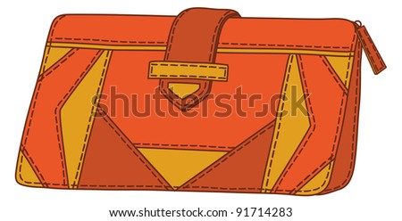 Red and yellow mens stylish leather wallet for money. Vector