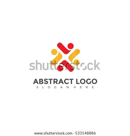 Red and Yellow People Icon vector. Abstract logo template. Vector Illustration eps.10
