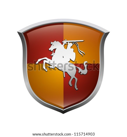 Red and yellow protection shield isolated on white background
