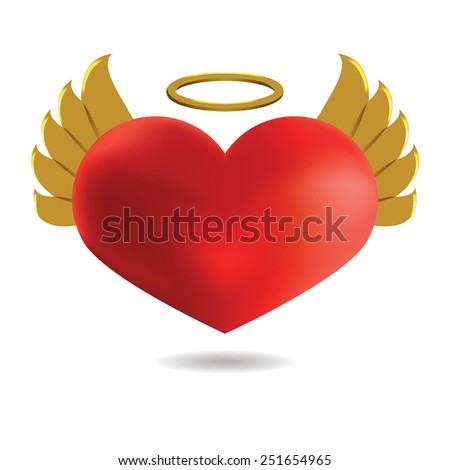 red angel  heart with golden