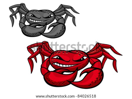 Red angry crab with claws for mascot design, such a logo. Rasterized version also available in gallery