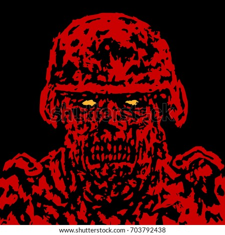 red angry zombie soldier cover