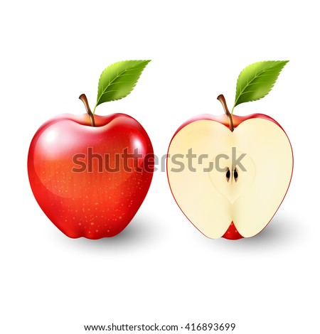 red apple and a half of apple
