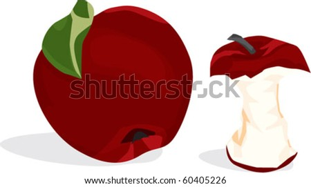 red apple and apple core