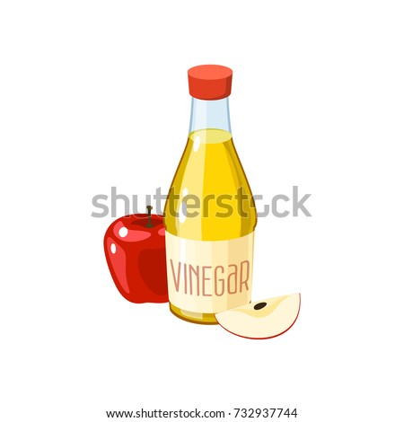 Red apple and bottle of vinegar. Vector illustration cartoon flat icon isolated on white. Foto stock ©